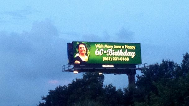 HT billboard ml 130813 16x9 608 Florida Woman, Julie Bricker, Wishes Mom a Happy 60th on a Billboard