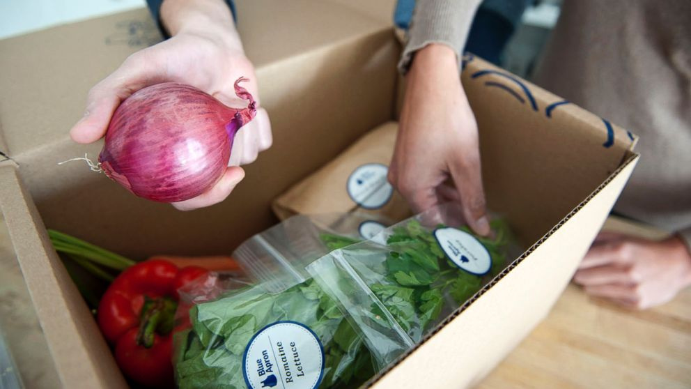 PHOTO: A handful of companies, such as Blue Apron, offer pre-measured ingredients for recipes delivered weekly. Fans say it can save home cooks time and expense.