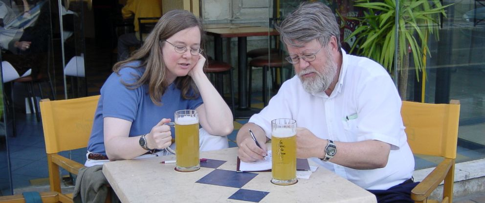 PHOTO: Bob and Ellie Tupper stopped at Brasserie lEntre Temps on a tasting trip to Valenciennes, France in 2001.