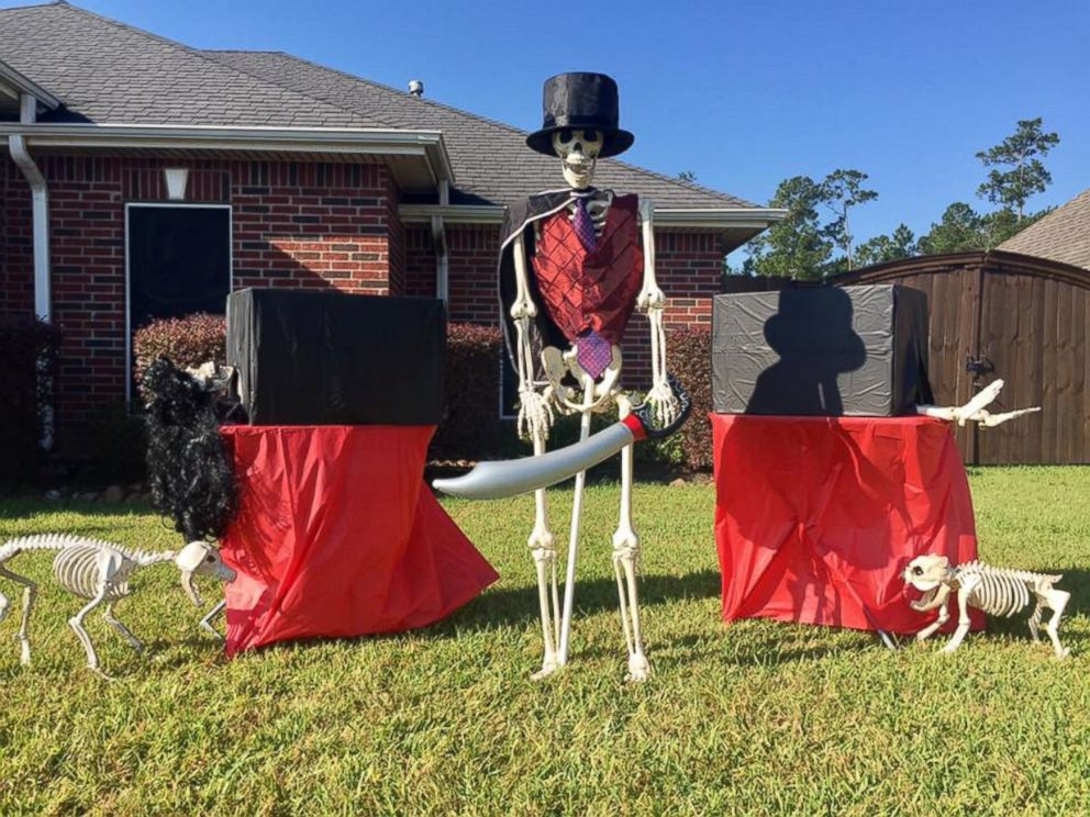 photo amy b moses of lumberton texas poses her skeleton decorations into various - Skeleton Decorations