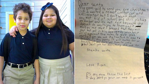 HT bully letter split jef 130918 16x9 608 Bullied Girl, Whose Brother Wrote Viral Letter to Santa, Surprised by Favorite Band