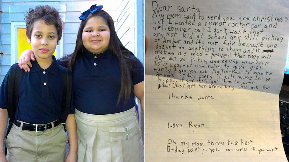 8 year old boy asks santa to end his sisters bullying abc news spiritdancerdesigns Images
