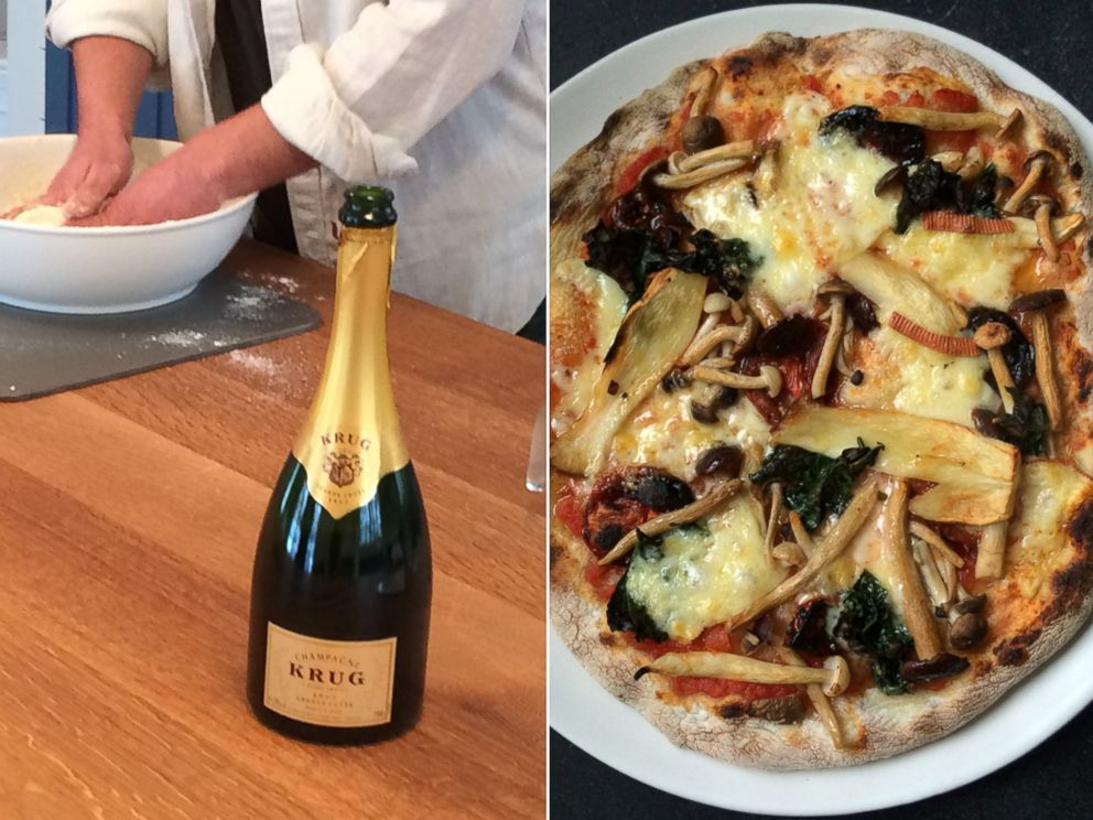 PHOTO: Champagne went into the dough of this luxe mushroom pizza.