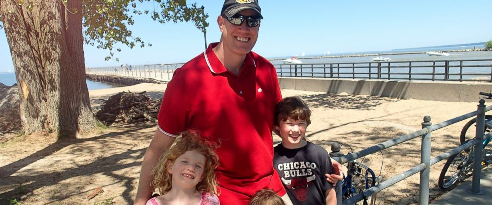 PHOTO: Chris Bernholdt, the dad behind the blog DadNCharge, thinks its time to ban the play date. He is pictured here with his three kids.