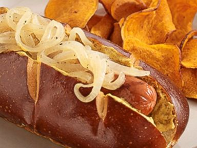 PHOTO: Chef George Durans recipe for Grilled Franks with Cider Braised Onions.