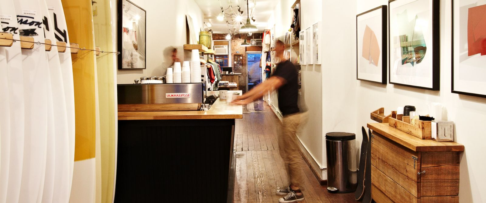 PHOTO: A small coffee bar operates out of swim shop Saturdays Surf NYC.