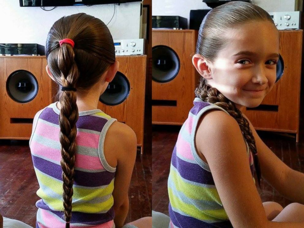 PHOTO: Nine-year-old Emma Morgese assisted her father Philippe in his Daddy Daughter Hair Factory course.