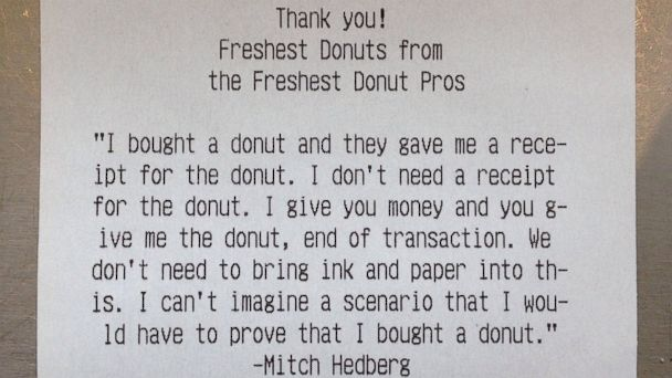 HT doughnut receipt jef 140501 16x9 608 Doughnut Shop Displays Sense of Humor on Receipts