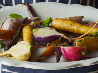PHOTO: Tasting Tables Easter recipe for Rainbow Carrots with Easter Egg Radishes.
