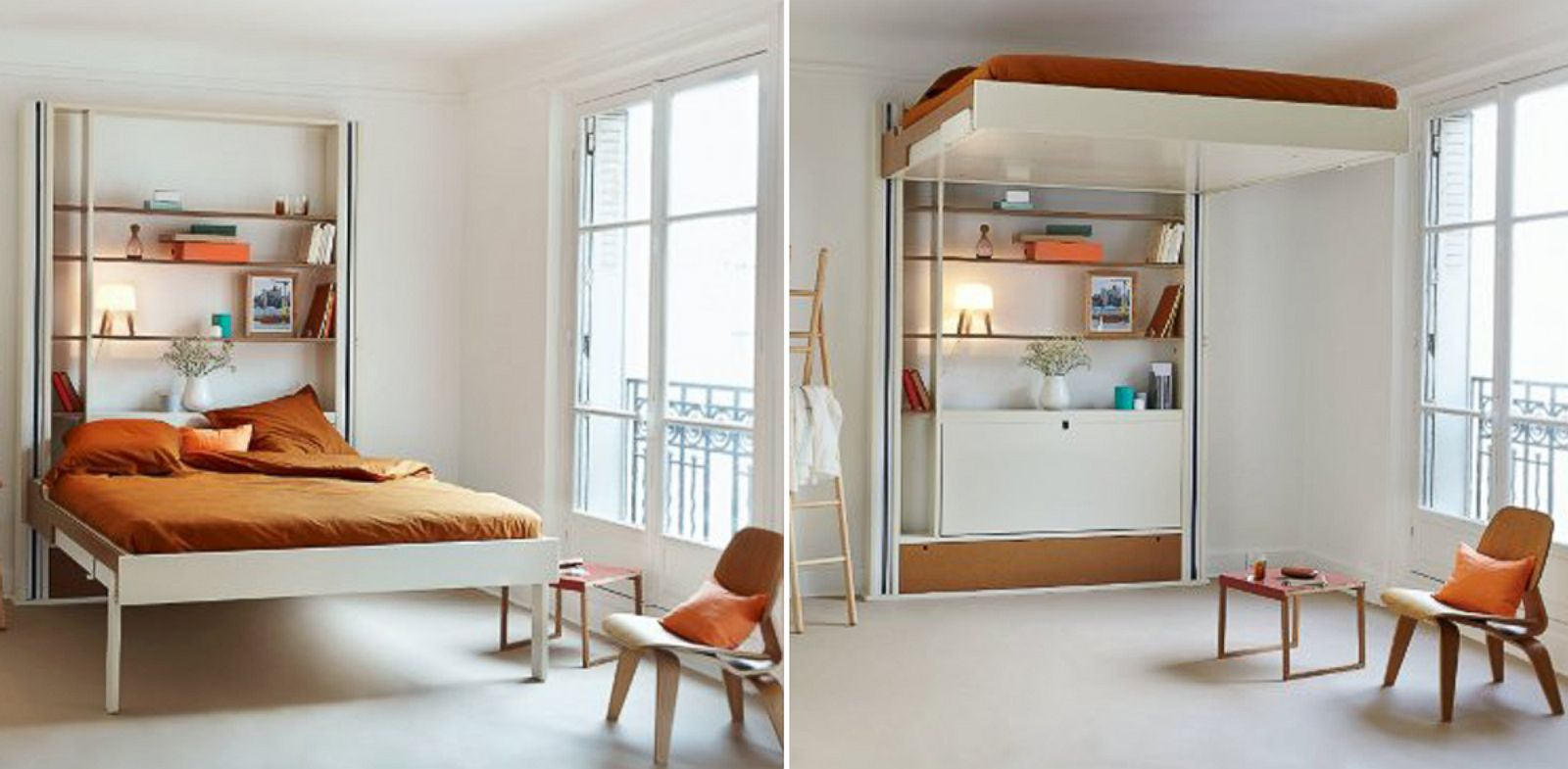 PHOTO: Espacce Loggia beds retract to the ceiling when not in use.