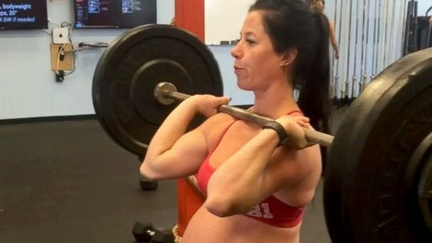 PHOTO: Emily Breeze Ross Watson continues to weight lift far into her pregnancy.