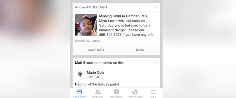 PHOTO: Facebook is teaming up with the National Center for Missing and Exploited Children to send Amber alerts to its users in specifics areas where a child has gone missing.