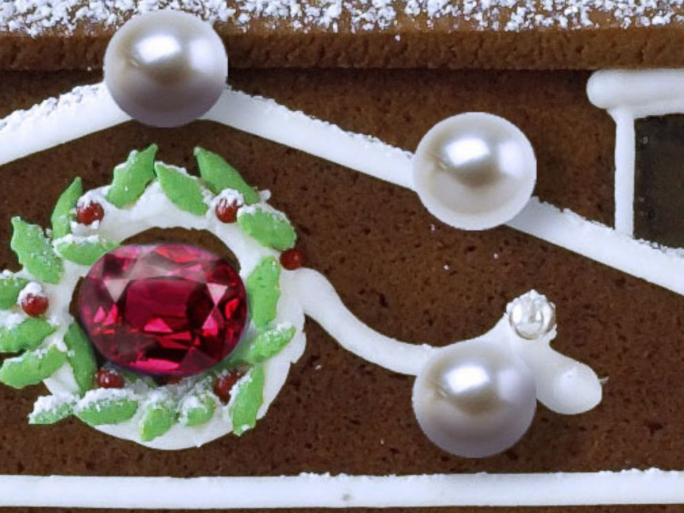 PHOTO: A close-up of the ruby and pearls on the $77,000 gingerbread house.