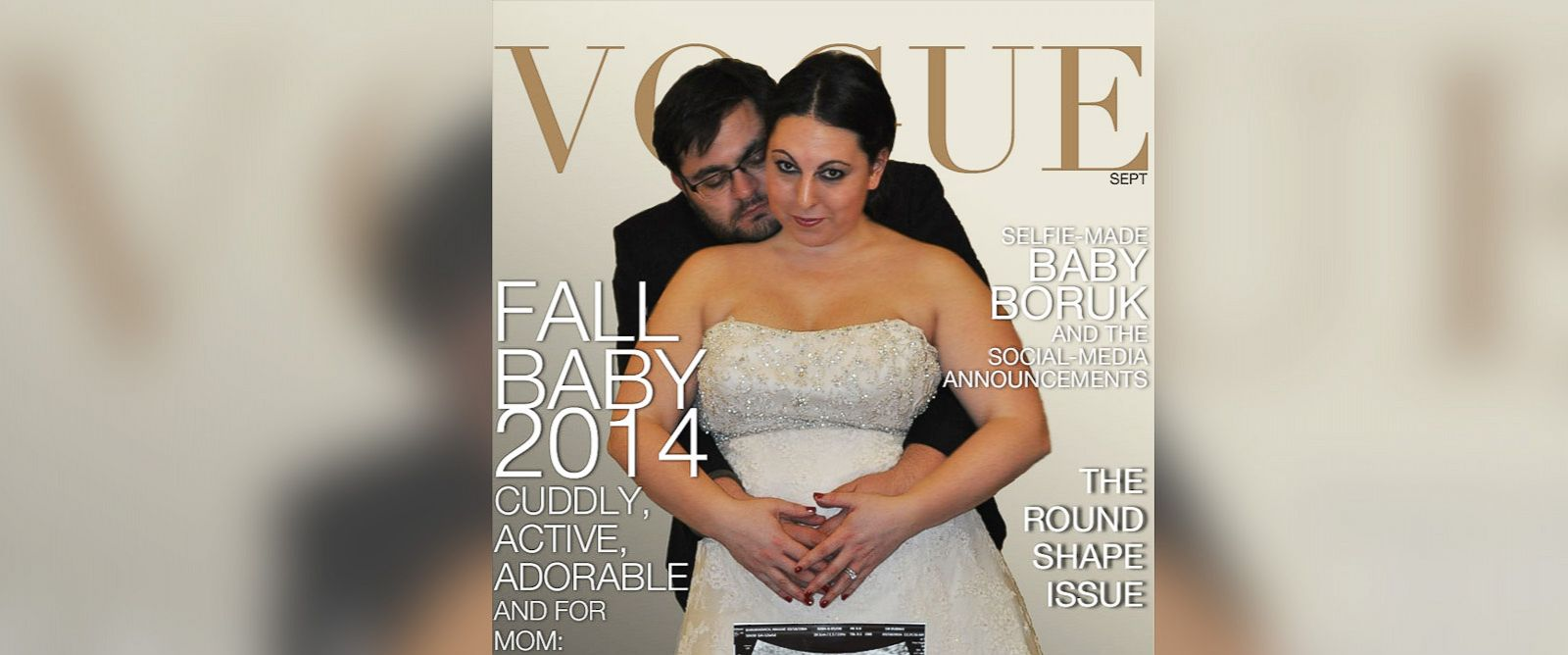 PHOTO: Gennady Borukhovich and his wife Maggie announce pregnancy with a Kim Kardashian and Kanye West Vogue cover parody.