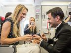 PHOTO: Jurgen Bogner proposed to his now wife Nathaly Eiche while flying to Greece. He then asked her to marry him right on the plane!