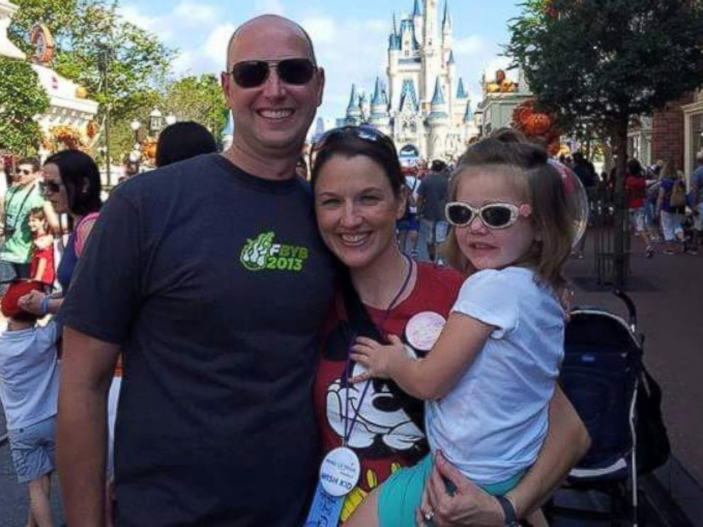 PHOTO: Lindsay Rhoades, her husband Mike and daughter Kate photographed at Disney World in October 2015.