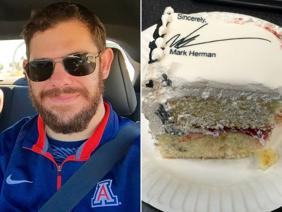 PHOTO: Mark Herman, left, quit on a cake, right.
