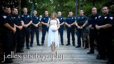 PHOTO: After Meghan Jacobss husband Allen, a Greenville Police Officer, was killed in the line of duty on March 18, 2016, his force honored him in a maternity shoot.