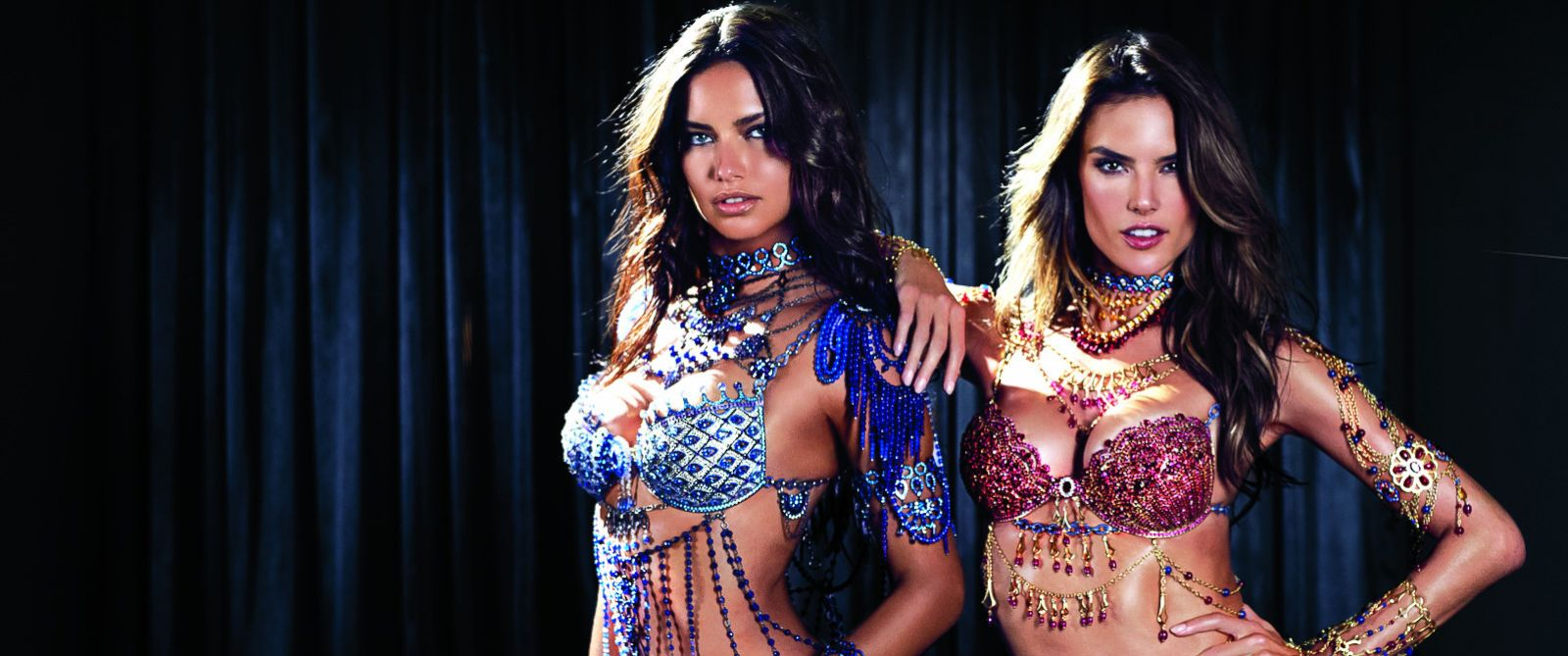 "PHOTO: Models Adriana Lima and Alessandra Ambrosio appeared live on ""Good Morning America"" on Nov. 3, 2014, for the unveiling of Victorias Secrets $2 million Dream Angels Fantasy Bras."
