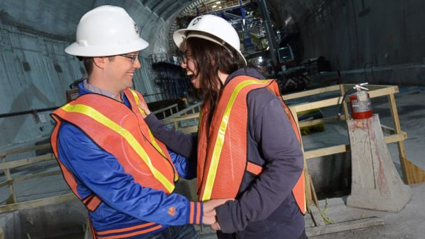 HT mta proposal mar 140519 16x9 608 NY Man Makes Hard Hat Proposal to Girlfriend in Unfinished Subway
