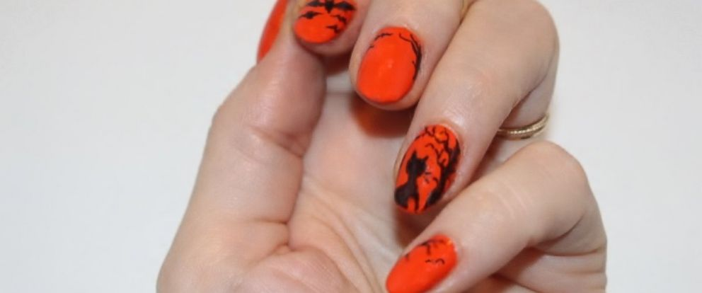 Simple diy halloween nail art abc news photo shadowy silhouettes prinsesfo Image collections
