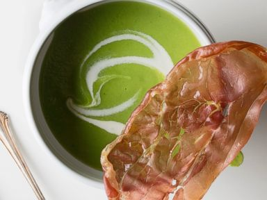 PHOTO: Tasting Tables Easter recipe for Pea Soup with Jambon Chips.