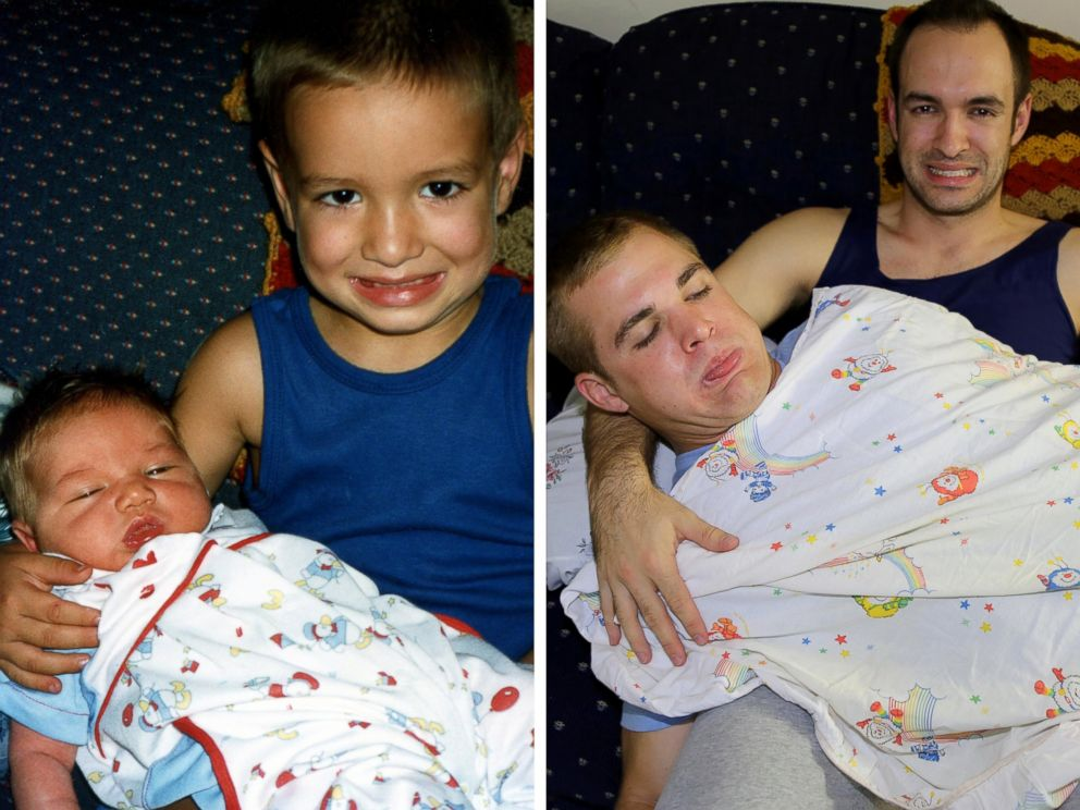 PHOTO: Matt MacMillan and his two brothers recreated photos from their childhood to surprise their mom with a photo calendar.