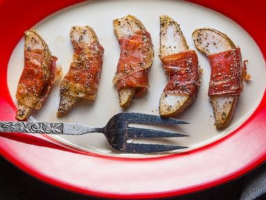 PHOTO: Prosciutto-Wrapped Pears with Maple and Fresh Pepper.