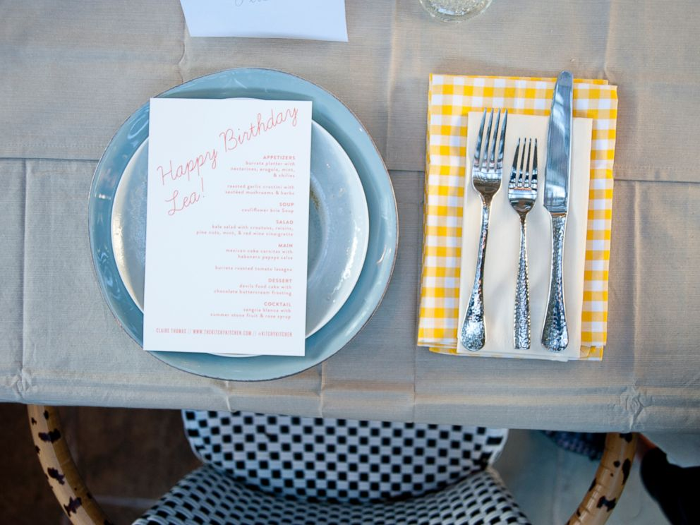 PHOTO: Lea Micheles birthday dinner table settings.