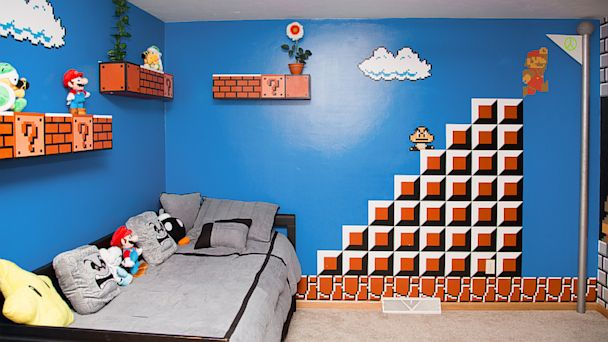 HT super mario bros room 01 jef 130917 16x9 608 Dad Gets 1 Up for Super Mario Bros. Themed Kids Bedroom