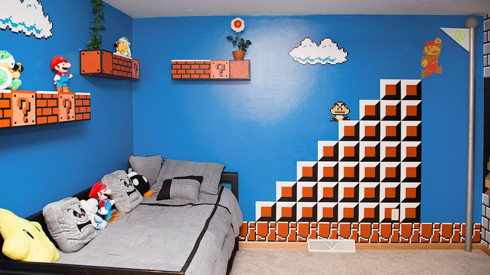 dad gets 1 up for super mario bros themed kids bedroom abc news