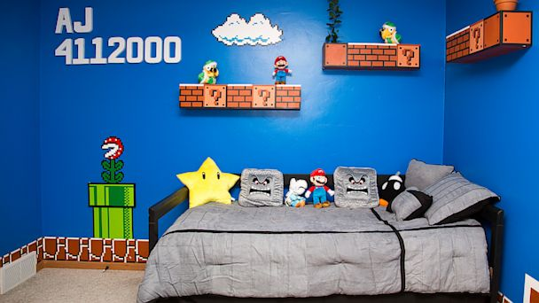 HT super mario bros room 04 jef 130917 16x9 608 Dad Gets 1 Up for Super Mario Bros. Themed Kids Bedroom