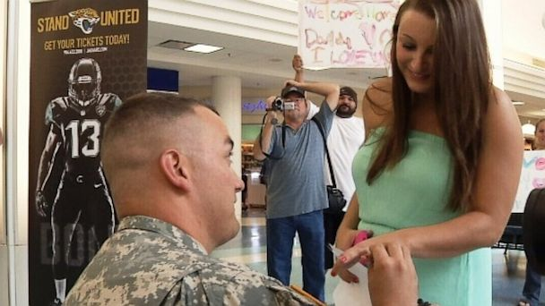 HT surprise proposal1 ml 130829 16x9 608 Soldier Turns Homecoming Into Surprise Airport Marriage Proposal