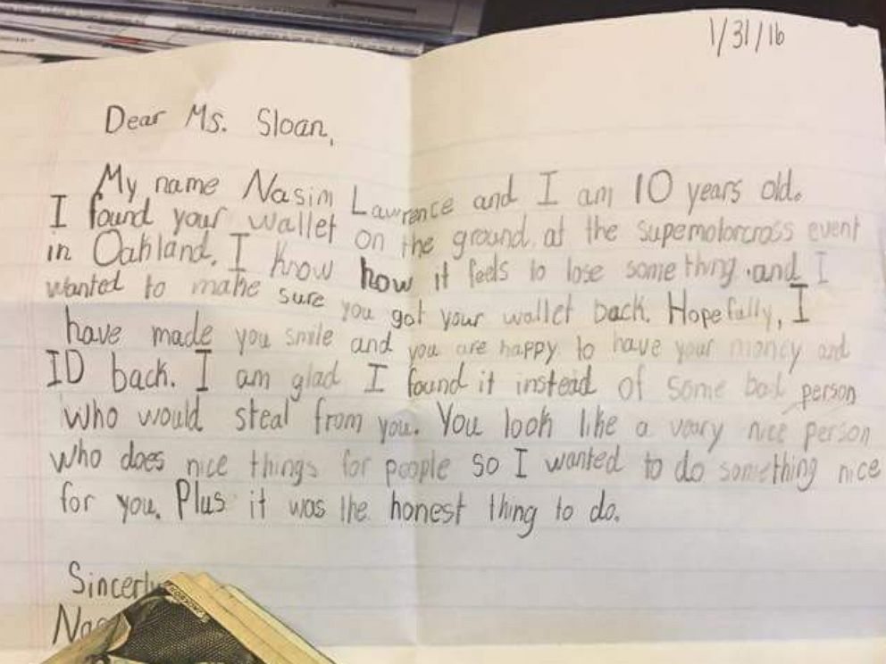 PHOTO: Taylor Sloan, 22, received a letter written by a 10-year-old child on Jan 31, along with her lost wallet.