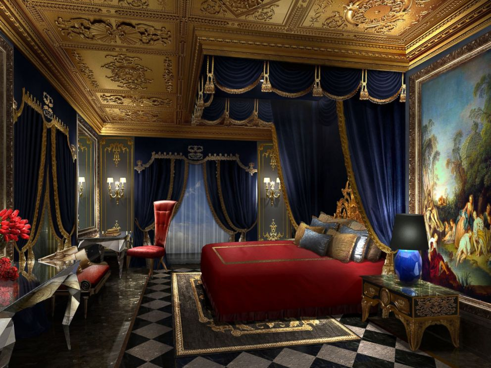 PHOTO: A bedroom in The 13 Hotel offers a king-sized bed and furniture inspired by the Baroque period.