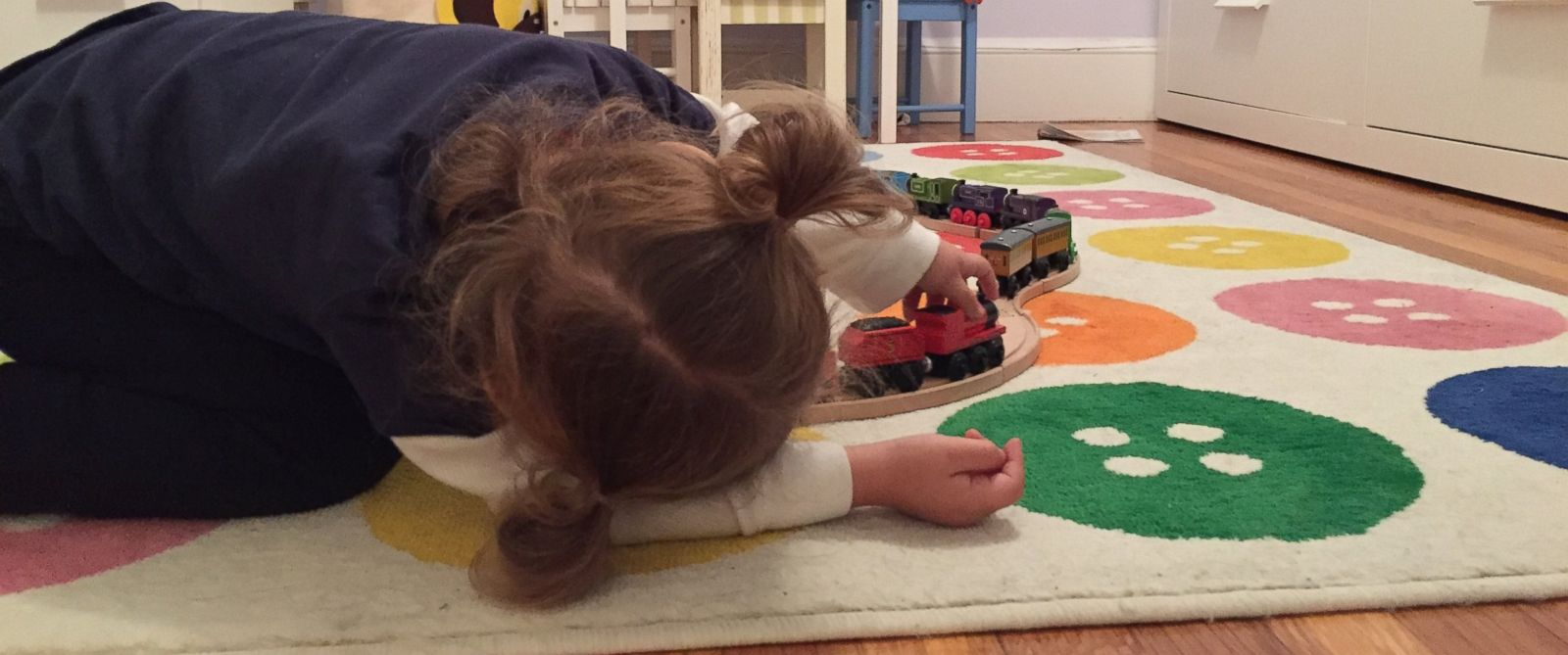 PHOTO: Rebecca Binder and Amanda Laws daughter is seen here playing with Thomas & Friends trains.