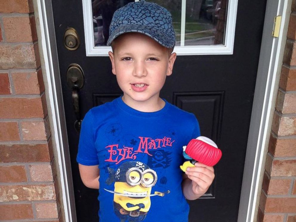 PHOTO: Timothy Rhynold, 7, of Brantford, Ontario brought a letter home to his mother, Tricia, along with a birthday party invitation.