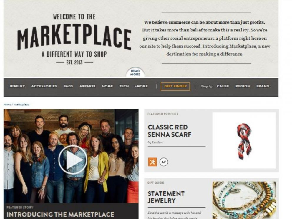 PHOTO: The TOMS Marketplace spans a wide array of causes and geographic areas impacted.