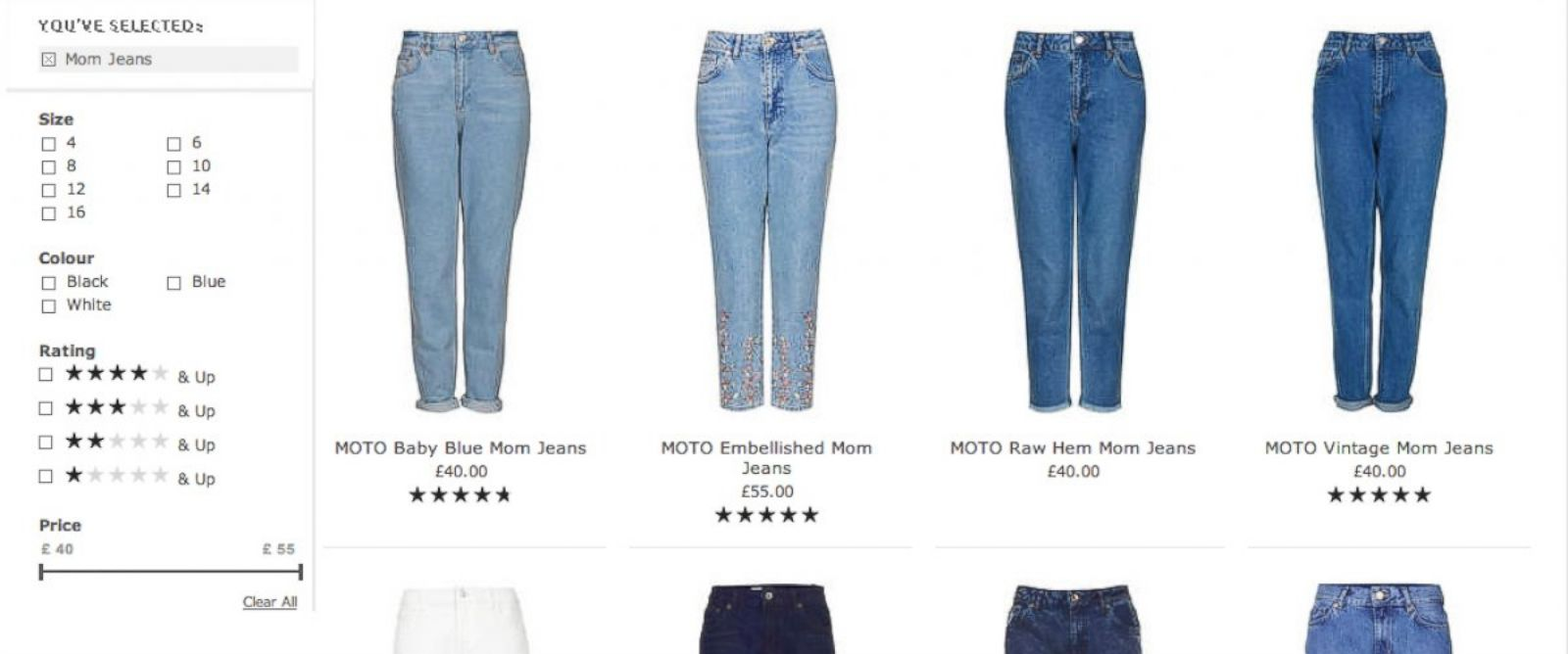 """PHOTO: A selection of """"Mom jeans"""" now available at Topshop."""