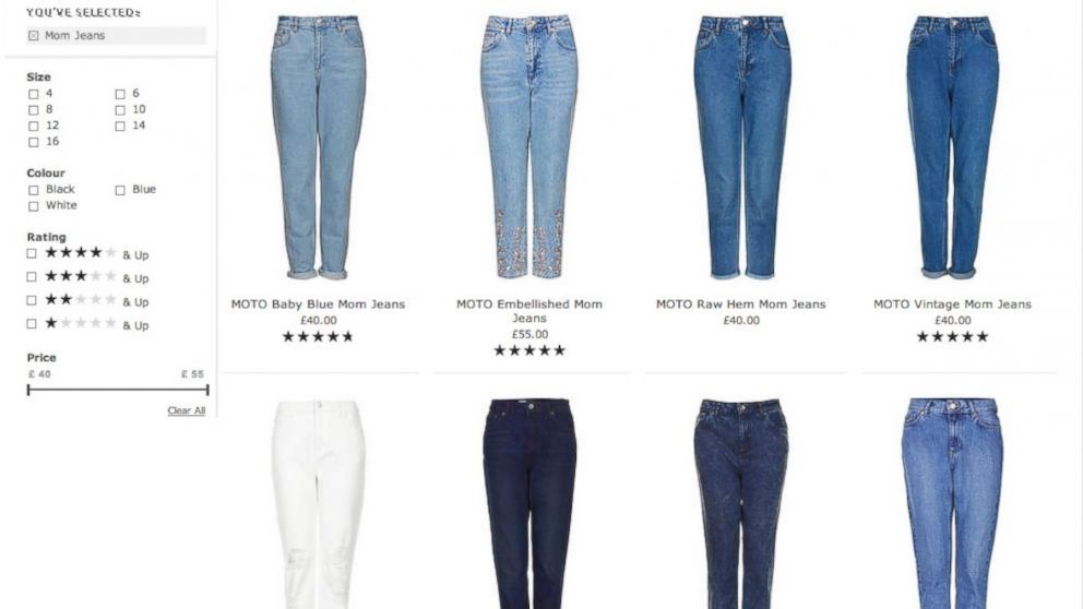 "PHOTO: A selection of ""Mom jeans"" now available at Topshop."
