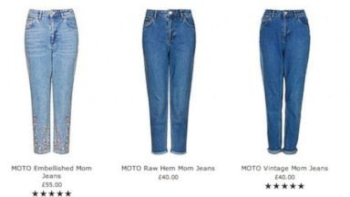 PHOTO: A selection of Mom jeans now available at Topshop.