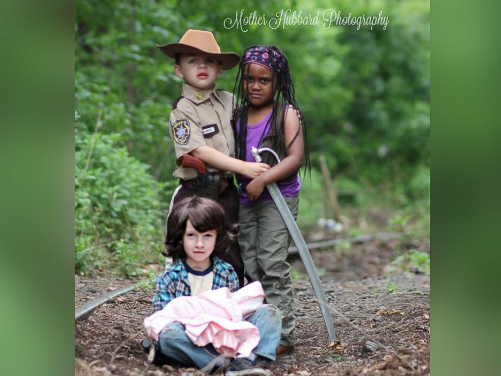PHOTO: Mason, 5, poses as Rick Grimes, Emily, 4, poses as Michonne and Matthew, 6, poses as Carl.