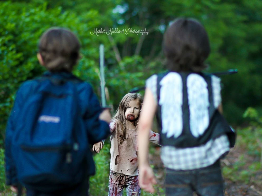 PHOTO: A child named Jailee, 4, poses as a walker chasing after two characters in a wooded area located in New Jersey.