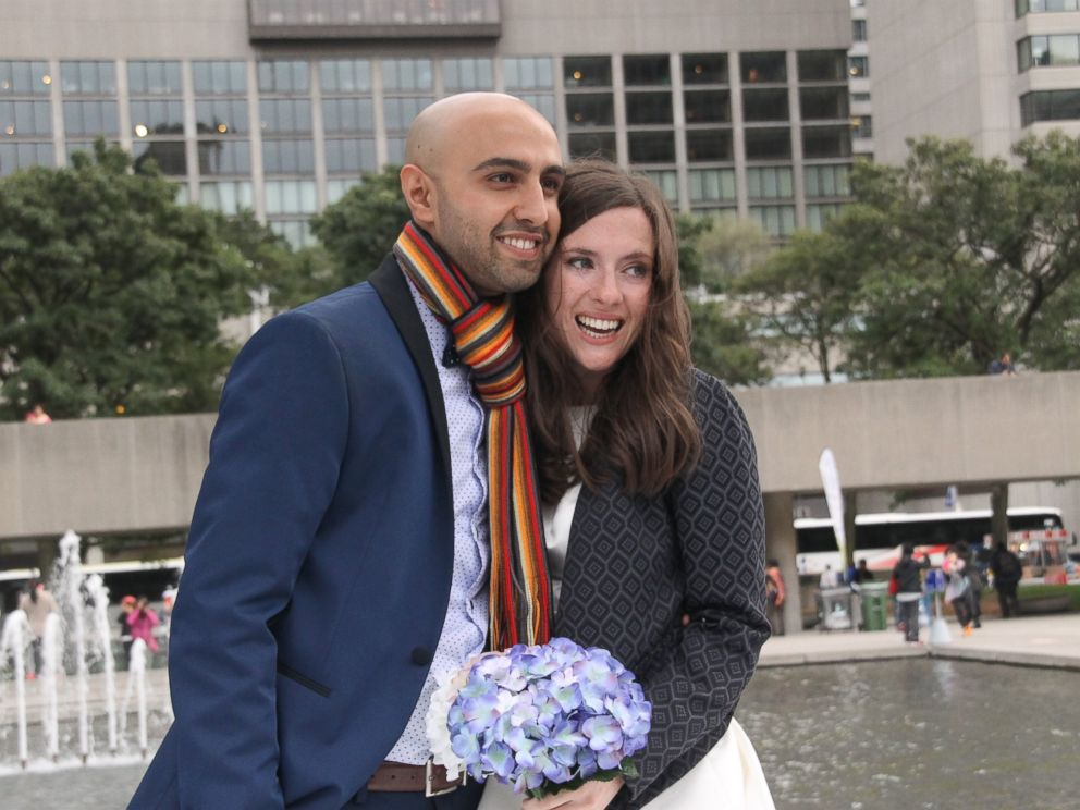 PHOTO:Samantha Jackson and Farzin Yousefian said they opted for a small city hall wedding on Oct. 9, 2015, to use the money they wouldve spent on a bigger wedding to instead help Syrian refugees.