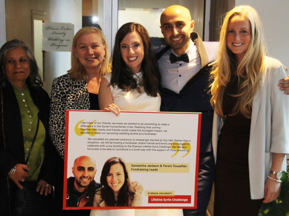 PHOTO:Ryerson University Lifeline Syria Challenge members (L-R) Ratna Omidvar, Wendy Cukier, Samantha Jackson, Farzin Yousefian and Krysten Connely are pictured together here.