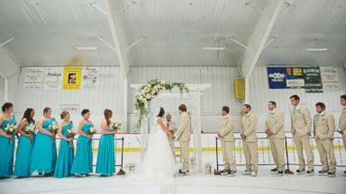 PHOTO: Ben and Courtney Sikkenga wed in front of friends and family at the Lakeshore Sports Center in Muskegon, Mich. this weekend.
