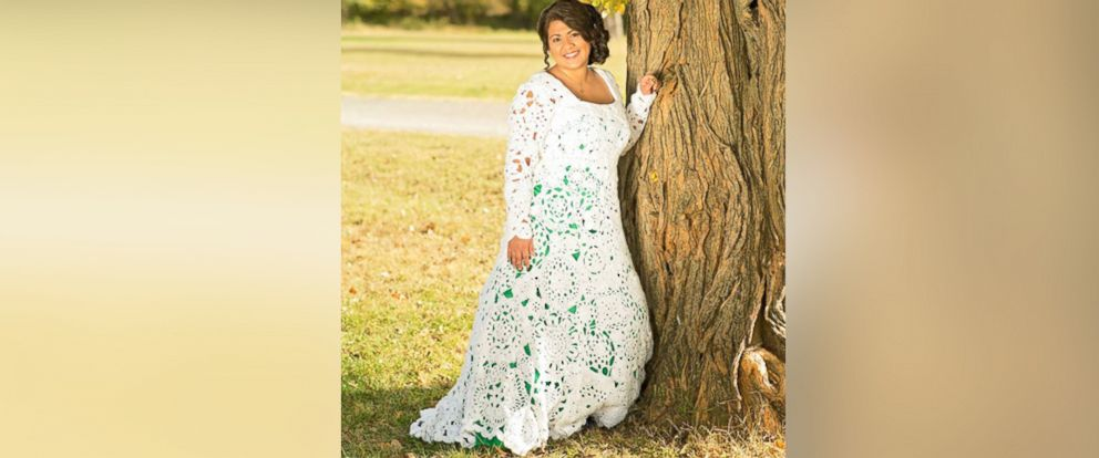 PHOTO:Abbey Ramirez-Bodley spent eight months and $70 crocheting her gorgeous wedding gown.