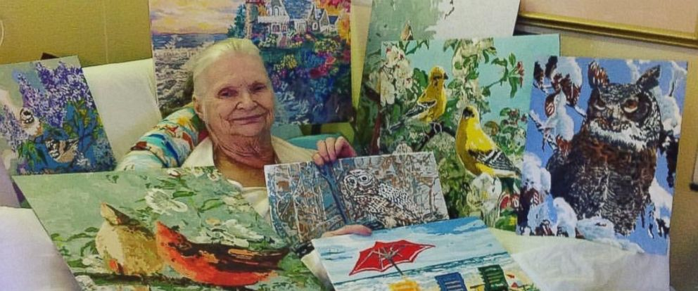 PHOTO: Joan Holland, 83, paints beautiful paintings to pass the time in assisted living.