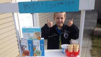 PHOTO: Haylen Astalos built an ice cream shop to raise money for families with sick children.