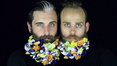 PHOTO: Jonathan and Brian are seen with floral beards.